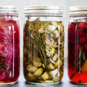 Pickled Mushrooms with Garlic and Thyme | MyRecipes.com Chef Renee Erickson, owner of several Seattle restaurants and of Boat Street Pickle company, gave us the recipe for these bracing pickles. She likes to eat them right from the jar, tossed with a little olive oil, or serve them with roasted chicken. She also recommends using them in a bloody Mary skewer.
