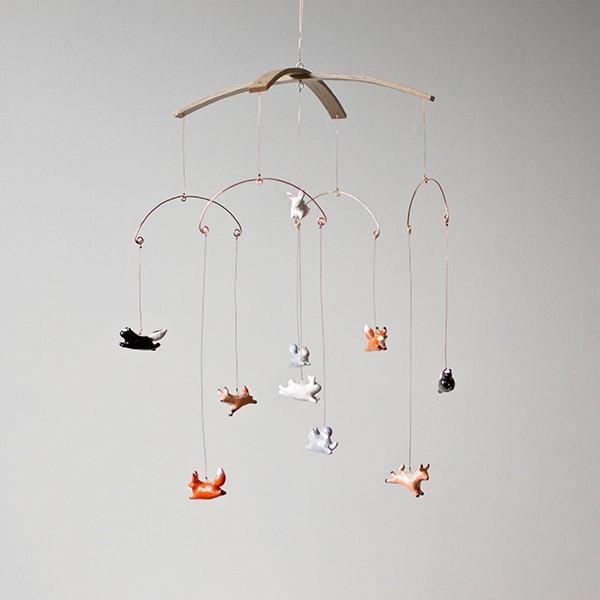 Woodland Creature Flying Animal Mobile.