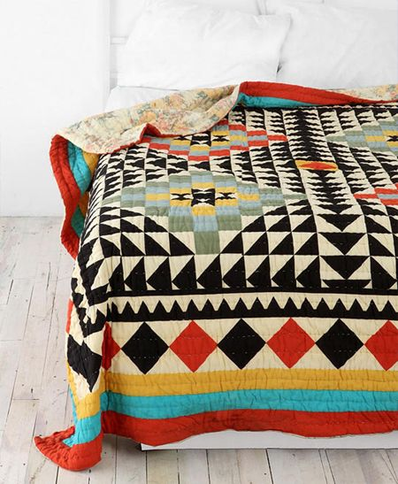 Kaleidoscope Patchwork coverlet @ Urban outfitters (guy-friendly colors)