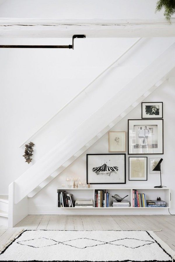 Under stairs gallery wall.