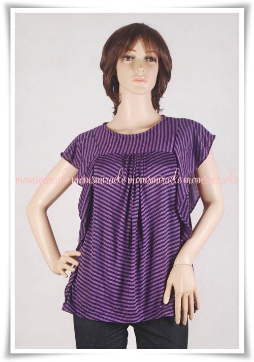 Angela Series Baju Menyusui Momsiracle Blus Menyusui bahan kaos motif stripe  Nyaman dan casual. Cocok untuk jalan-jalan bersama si kecil.