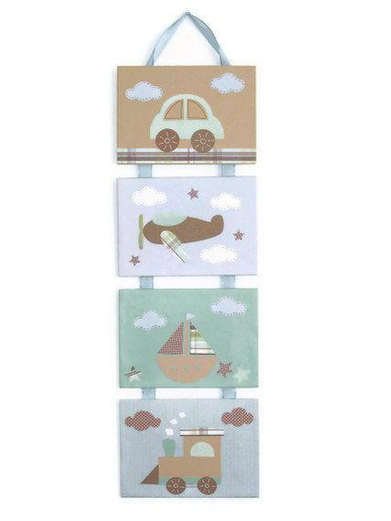 Nursery art, baby room decor, nursery wall art, children wall art, Car, Plane. Boat, Train