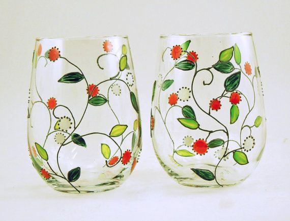 Painted stemless white wine glasses Set of por CreationsdeFlorence