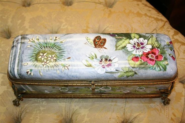 19th century enamel glove box, 142 long by 42 high.  French.  Exquisite.
