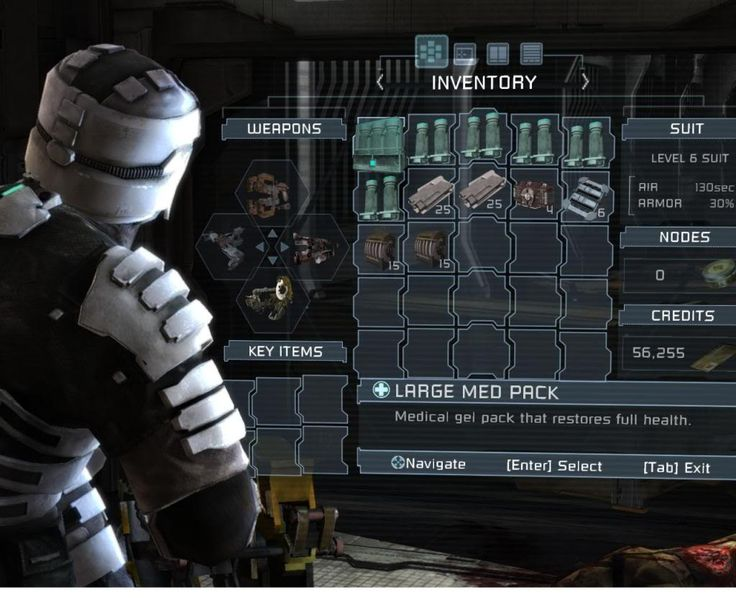 In Dead Space even inventory management and menu screens are shown in real time. This prevents the game flow and horror atmosphere from being broken by constant pauses in gameplay.