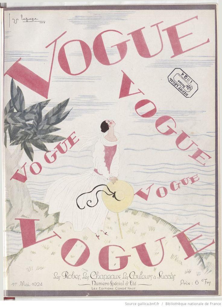* Vogue (Paris) 1er mai 1924 - couverture dessinée par G Lepape.