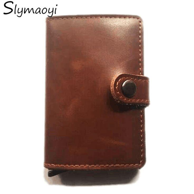 Slymaoyi Antirrobo titular de la tarjeta mini carpeta de aluminio RFID cartera de cuero delgada aparecerá caso protector de la tarjeta de crédito de la tarjeta de crédito holde