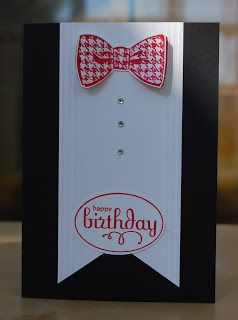 Sophisticated masculine birthday card using Stampin' Up! Dapper Dad stamp set. Sentiment is from Perfect Punches stamp set. This would also make a great invitation for a formal event or birthday! | Julie Kettlewell, Julie's Japes