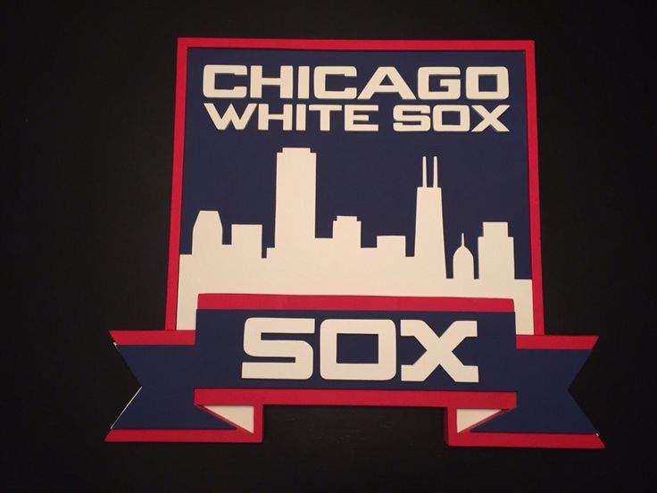 Chicago White Sox 3-D wood sign. White sox skyline logo. Chicago white sox wall decor. Handmade by Kate Hall.