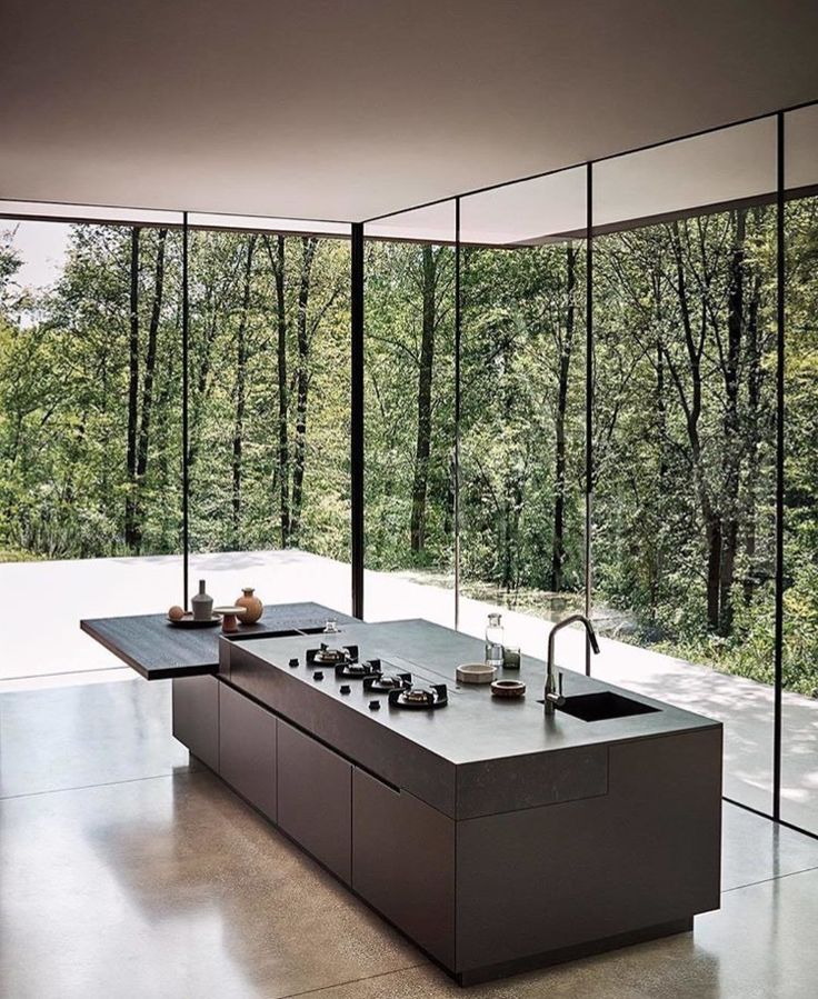 Contemporary Kitchen Open to outside w glass window walls