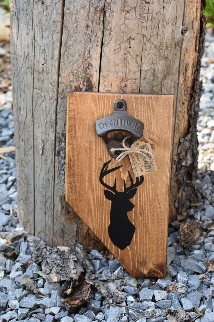 Rustic Handpainted Deer Silhouette Magnetic 'Albeerta' Bottle Opener by RaggedyRenaAnn on Etsy https://www.etsy.com/ca/listing/535242860/rustic-handpainted-deer-silhouette