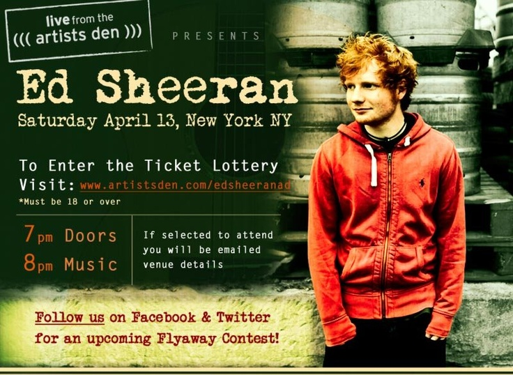 Ed Sheeran secret show in NYC on Apr 13.