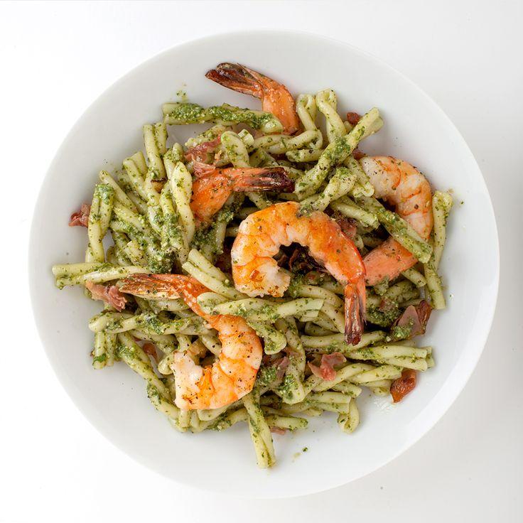 Pasta with Pesto, Shrimp, and Cured Ham Recipe - Bon Appétit