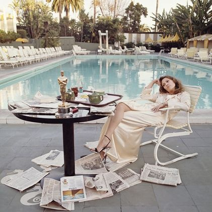 Faye Dunnaway at the Beverly Hills Hotel by Terry O'Neill.