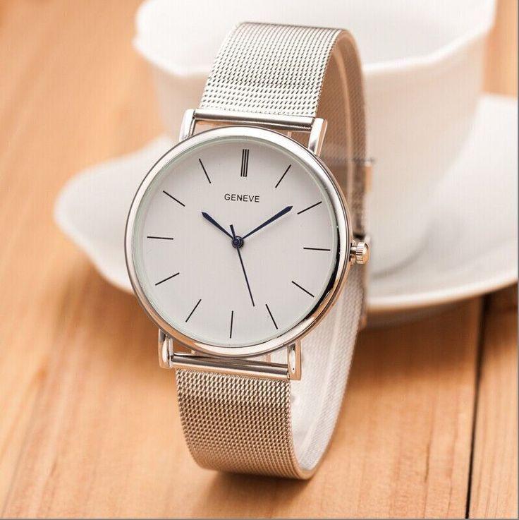 2015 New Famous Brand Silver Casual Geneva Quartz Watch Women Metal Mesh Stainless Steel Dress Watches Relogio Feminino Clock