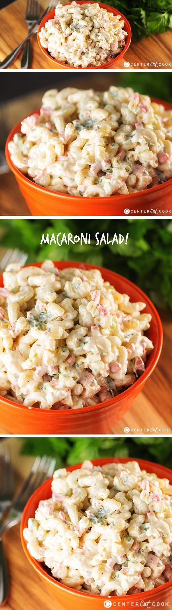 EASY MACARONI SALAD, just like you'd get from the deli at the grocery store! This basic version of Classic Macaroni Salad can be modified to be made with tuna, peas, or whatever add-ins you's like!