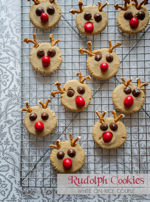 Rudolph Reindeer Peanut Butter Cookies Recipe from WhiteOnRiceCouple.com