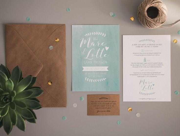 Trouwkaart ontwerp Marc & Lotte - Marjolein Vormgeving #trouwkaart #onwerp #trouwkaarten #trouwen #bruiloft #uitnodiging #mint #groen #typografie #watercolour #kaart