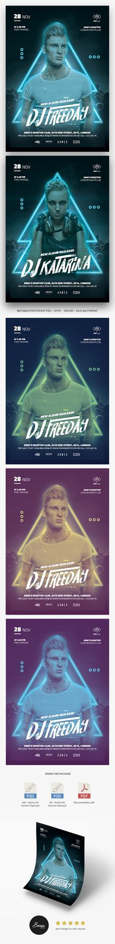 DJ Concert flyer template for Photoshop pergect to promote your DJ concert, nightclub party, EDM concert, or any DJ events #flyer #poster #template #adobe #photoshop #envato #graphicriver #DJ #edm #nightclub #party #techno #banner #promotion