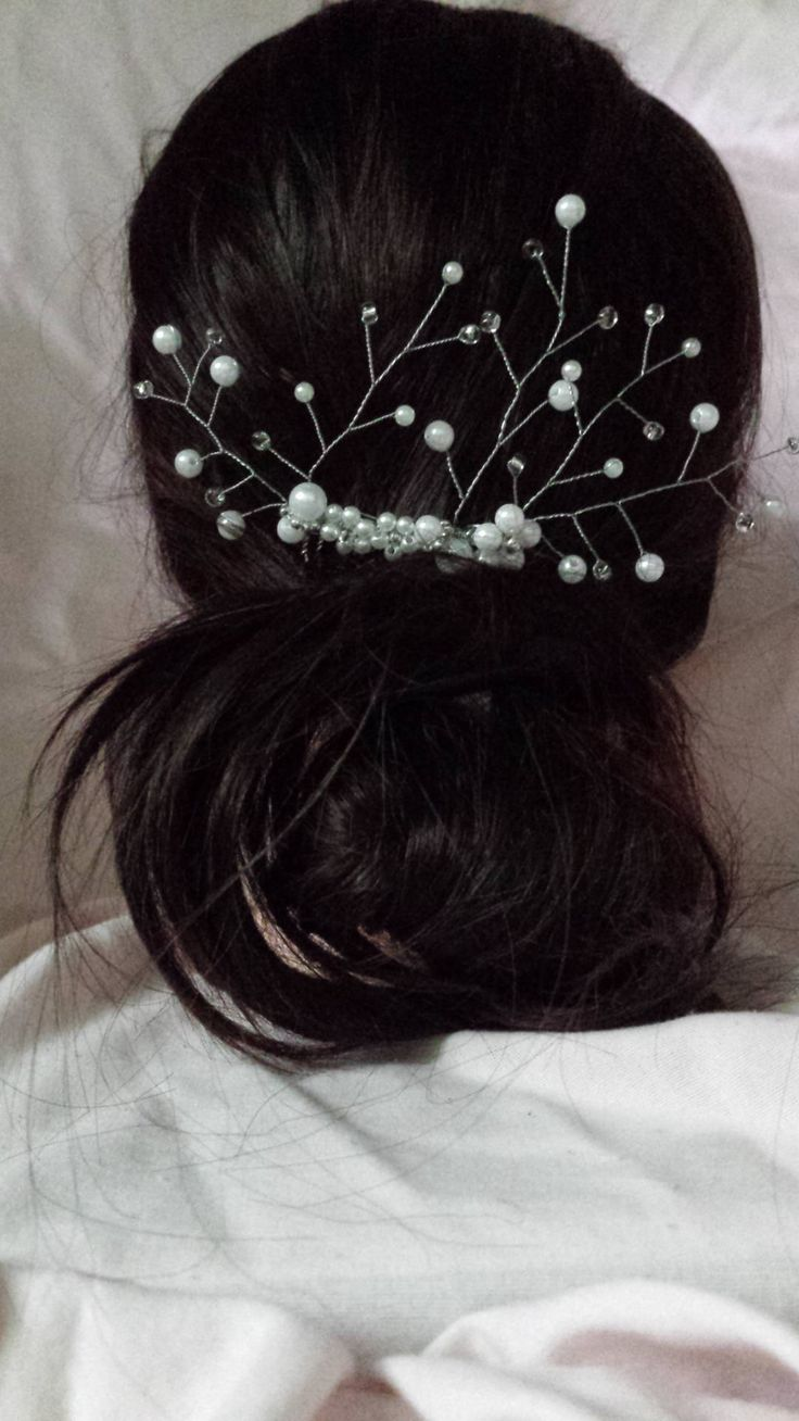 Bridal hair comb, decorative hair comb, pearl hair comb, wedding hair jewelry by DebMCreations on Etsy