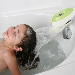 Boon Flo Bath Waterfall Dispenser, $14.50  **Three functions: 1. Makes faucet a gentle waterfall for washing hair, play, etc. 2. Faucet protector 3. Also can dispense Bubble bath as water fills**