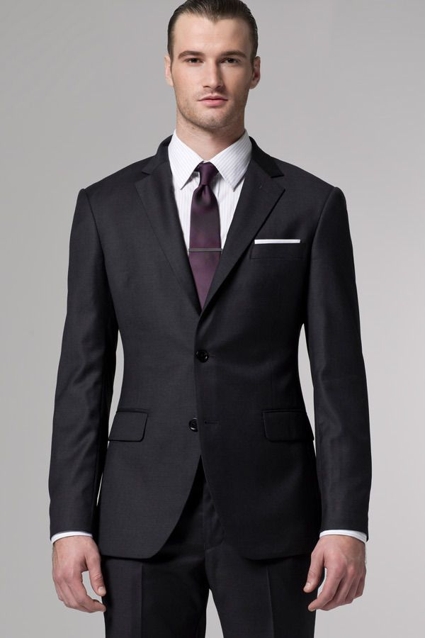 Wear this timeless charcoal suit with any shirt and tie for Charcoal suit shirt tie combinations