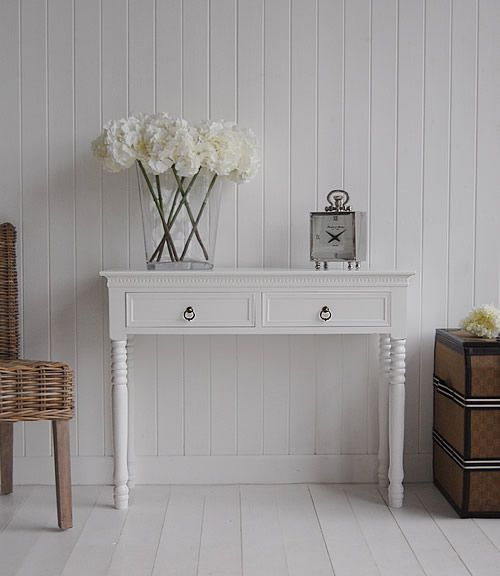 New England white console table  with two drawers for hall storage with antique brass handles