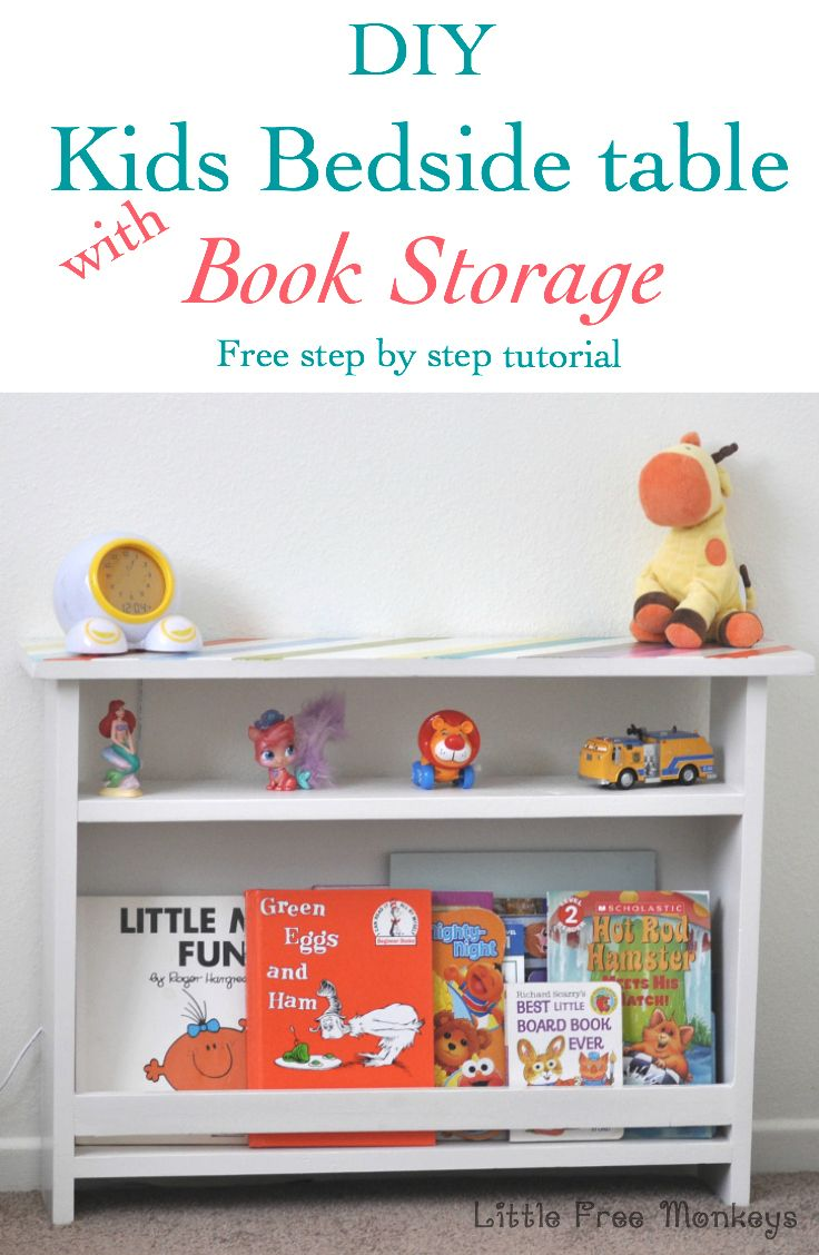 diy kids bedside table with book storage little free monkeys