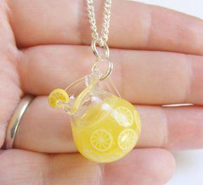 Cibo limonata miniatura ciondolo collana - gioielli di cibo in miniatura, gioielli fatti a mano, gioielli Mini cibo, miniatura bottiglia collana