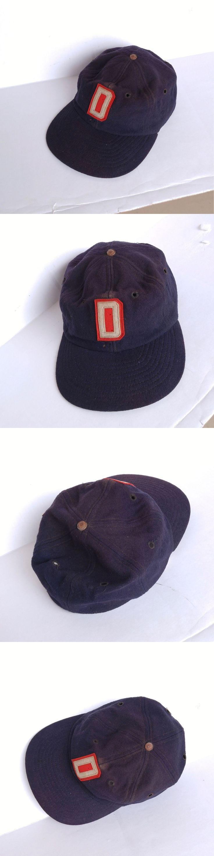 Hats and Headwear 159057: Antique Vintage 1940S-50S D Emblem Blue Wool Fitted Baseball Cap Leather Band -> BUY IT NOW ONLY: $36.99 on eBay!