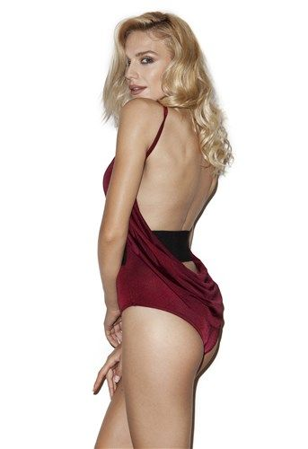 $125- Wine color draped back, black belted one piece swimsuit. #5pmswimwear #luxuryswimwear #onepiece #redcarpet #red #cowlback #swimwear #summer