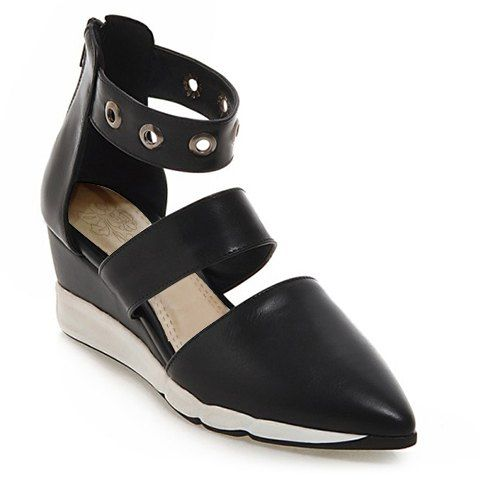 Casual Women's Wedge Shoes With Zipper and Pointed Toe Design #CLICK! #clothing, #shoes, #jewelry, #women, #men, #hats