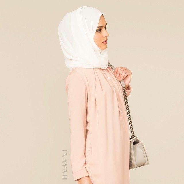 INAYAH | Nude Pink Long Tunic Dress | Off-White Georgette Hijab | www.inayahcollection.com  #covered #Hijab #dress #midi #dress #dresses #islamicfashion #modestfashion #modesty #modeststreestfashion #hijabfashion #modeststreetstyle #modest #modestdresses #ootd #tunic#springfashion #INAYAH #covereddresses #scarves #hijab #style #hijabstyle