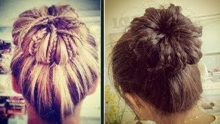 Braided Sock Bun Updo Hair Tutorial, via YouTube.  Adorable! make your own shinion!