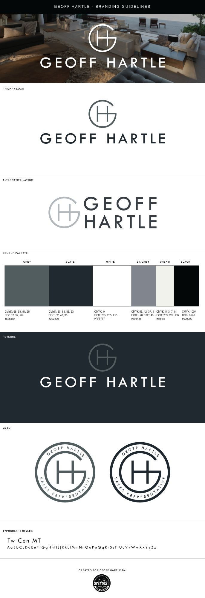 The completed branding guidelines we did for the Geoff Hartle Digital Strategy project.