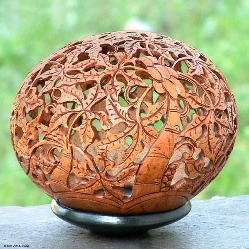 Papaya Coconut Shell Sculpture~~Bali Art by Novica