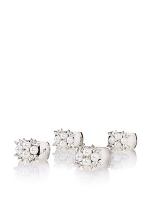 58% OFF Isabella Adams Set of (4) 4-Pearl Napkin Rings with Swarovski Crystals, Silver