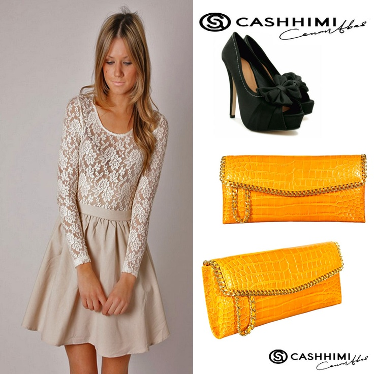 Cashhimi yellow DOHENY  Leather Clutch