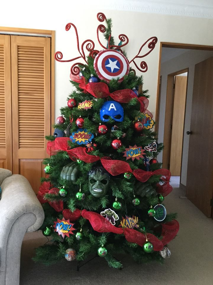 Three Trees Created 2017 For Three Beautiful Grandsons That Love Superheroes Captain America Hulk Christmas T With Images Thanksgiving Christmas Christmas Christmas Tree