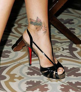 While it's hard to improve Christian Louboutin's super-fashionable shoes, Denise Richards' fairy tattoo puts a sweet, lighthearted spin on her sophisticated black Louboutins. Description from glamour.com. I searched for this on bing.com/images