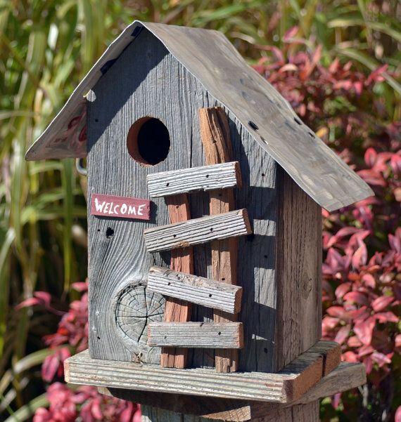 Ozark mountain cabin birdhouse - Rustic birdhouse - License plate birdhouse