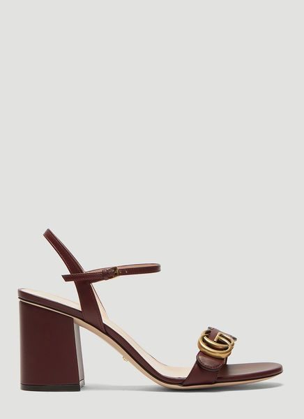 b9b6bf3404 GUCCI DOUBLE G LEATHER MID-HEEL SANDALS IN BURGUNDY. #gucci #shoes ...