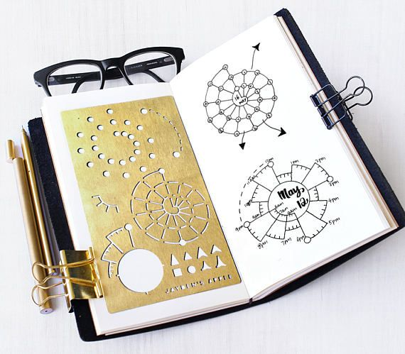 Bullet Journal Stencil, Spiraldex Stencil, Chronodex Stencil, Planner Stencil – fits A5 journal & Midori Regular (Spiraldex L)