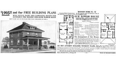 Is Your House from a Catalog? About Mail Order Homes: American Foursquare Floor Plan from Sears Book of Modern Homes, Number 52 for $1995