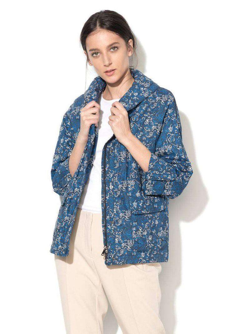 Jacheta in nuante de albastru si alb cu model floral - Geox