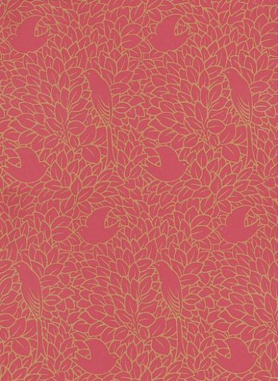 Dovedale (81/2007) - Cole & Son Wallpapers - A late 19th c design with stylised bird silhouettes attributed to the celebrated Arts & Crafts designer Voysey – simple shapes but an intricate design drawn in gold on a warm red. Please ask for a sample for true colour match.