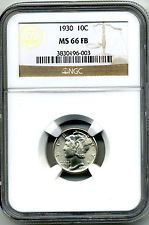 1930 MERCURY DIME (10¢) NGC MS66 FB (SCARCE FULL BANDS COIN)