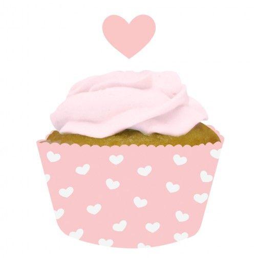 Cupcake Wrapper mit Picks Herz 12Stück