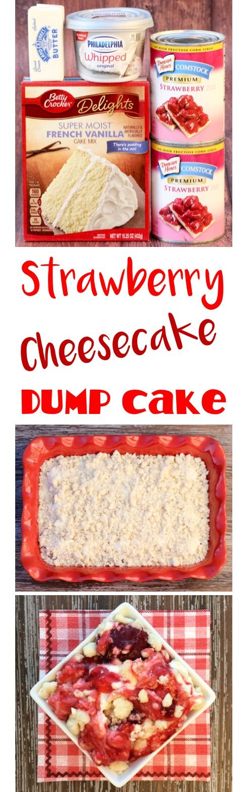 Dump Cake Recipes make the best desserts! This EASY Strawberry Cheesecake Dump Cake is just 4 ingredients, and one of my absolute favorites. SO yummy!! | http://TheFrugalGirls.com