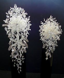 WEDDING FLOWERS BESPOKE BRIDE & BRIDESMAID WHITE & SILVER CRYSTAL BOUQUETS | eBay